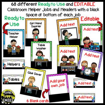 Classroom Helper Jobs (EDITABLE) ~ Bright Polka Dots & Stripes