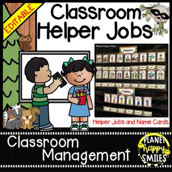 Classroom Helper Jobs (EDITABLE) Forest Animal theme
