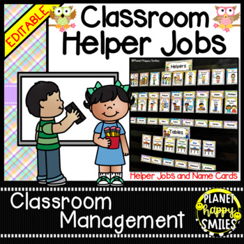 Classroom Helper Jobs (EDITABLE) ~ Hootin' Owl Theme (plai