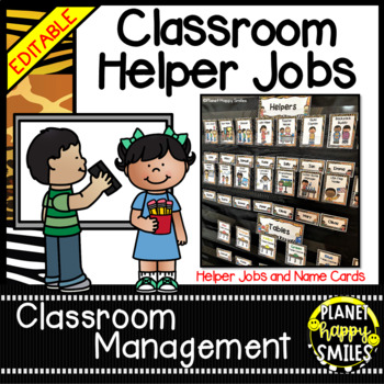 Classroom Helper Jobs (EDITABLE) ~ Jungle Print Theme (no animals)