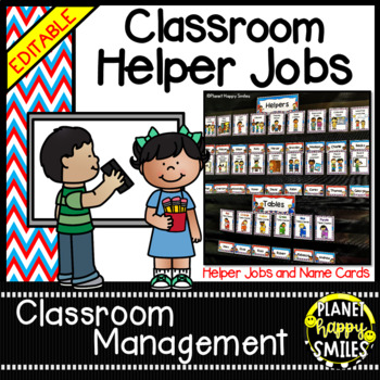 Classroom Helper Jobs (EDITABLE) ~ Red, White, and Blue ~ USA or Whimsical Theme