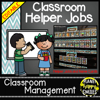 Classroom Helper Jobs (EDITABLE) Teal and Chalkboard theme