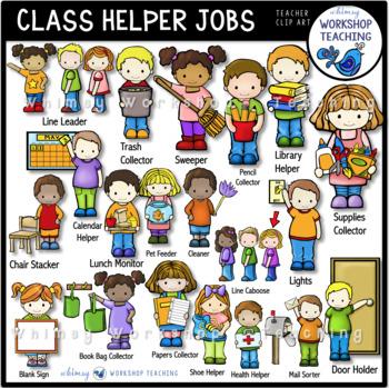 Classroom Helper Kids Jobs Clip Art (21 Jobs) Whimsy Works
