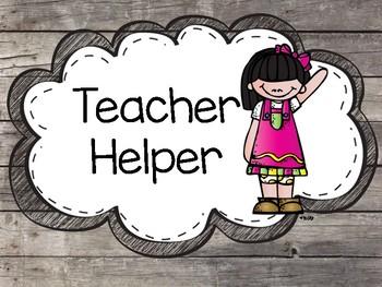 Classroom Helper Signs
