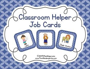 Classroom Helper and Job Cards Blue Quatrefoil