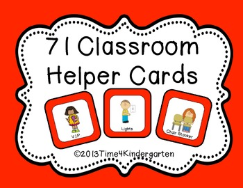 Classroom Helper and Job Cards Red Solid