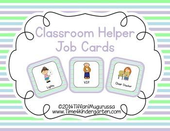 Classroom Helper and Job Cards Spring Stripe
