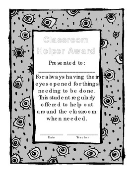 Classroom Helper of the Month Award