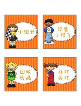Classroom Helper/Job Cards - ThistleGirl Design Theme (Simplified Chinese)