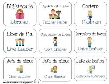 Classroom Helpers 27 Jobs in English and Spanish / Los Ayudantes del Salón