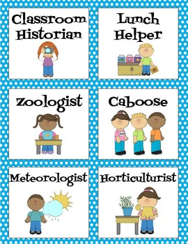 Classroom Helpers - Blue and White Polka Dots