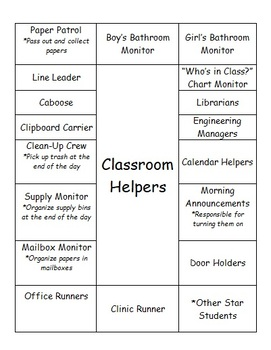 Classroom Helpers Chart, Upper Elementary, Editable Word Document