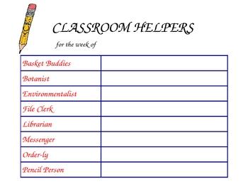 Classroom Helpers Class Schedule
