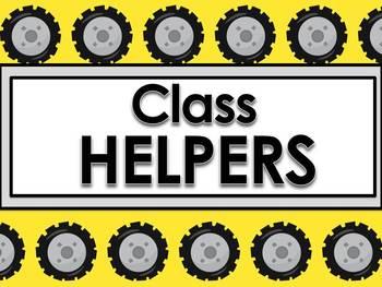 Classroom Helpers Editable - Construction Theme