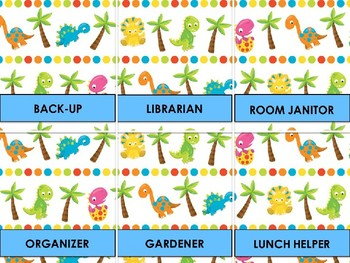 Classroom Helpers Editable - Cute Dinosaur Theme