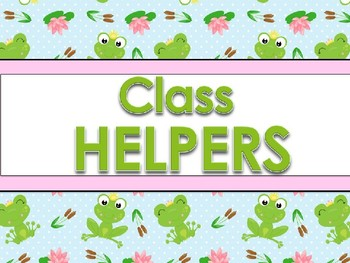 Classroom Helpers Editable - Frog Theme