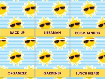 Classroom Helpers Editable - Summer Theme