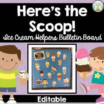 Classroom Helpers / Jobs - Editable - Ice Cream Theme