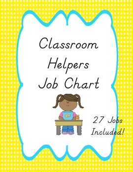 Classroom Helpers Job Chart, Colorful Chevron