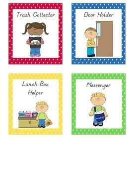 Classroom Helpers Job Chart, Polka Dots