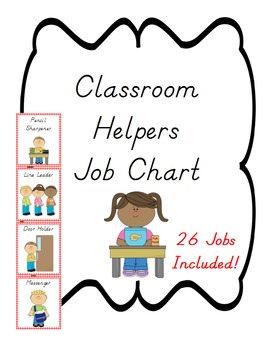 Classroom Helpers Job Chart, Red Gingham