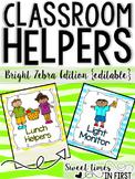 Classroom Jobs Bright Zebra Print Edition EDITABLE