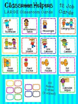 Classroom Helpers - LARGE Classroom Cards