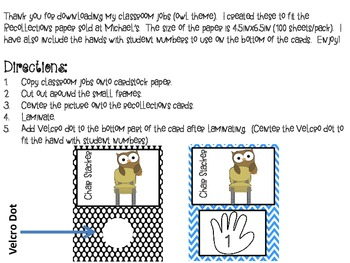 Classroom Helpers Owl Theme