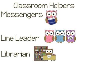 Classroom Helpers- Owl Theme