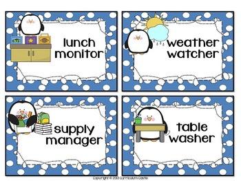 Classroom Helpers: Owl, Penguin & Bee Theme Job Charts!