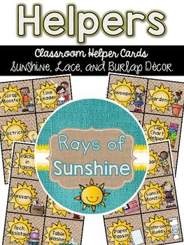 Classroom Helpers {Sunshine, Lace, & Burlap Decor.}