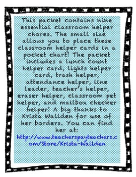 Classroom Helping Hands Chore Labels for Pocket Chart