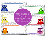 Classroom-Homeschool Name Labels Owl Theme Decor