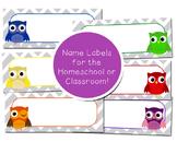 Classroom-Homeschool Name Labels Owl Theme Decor