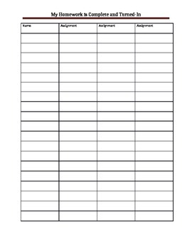 Classroom Homework Checklist