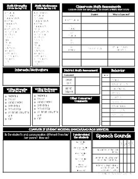 Classroom IEP Info and Student Snapshot Sheets