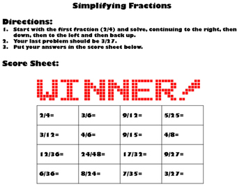 Simplifying Fractions Practice