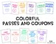Classroom Incentive Passes and Coupons