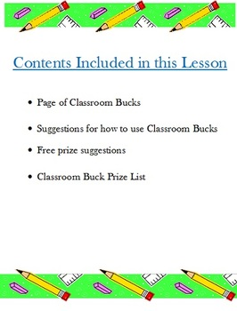 Classroom Incentive Reward Bucks