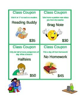 Classroom Incentive Reward Coupons