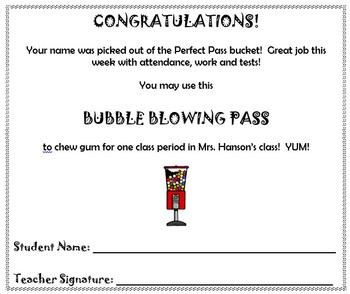 "Classroom Incentives: ""Perfect Passes"""