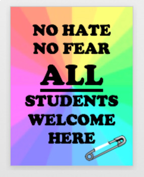 """Classroom Inclusion Poster """"ALL Students Welcome Here"""""""