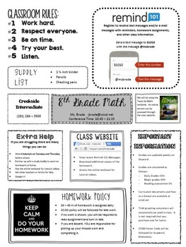 Classroom Info Sheet Syllabus Fun Editable Teacher Info Beginning of Year