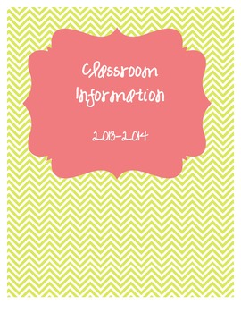 Classroom Information Binder Covers (chevron, 3 colors)
