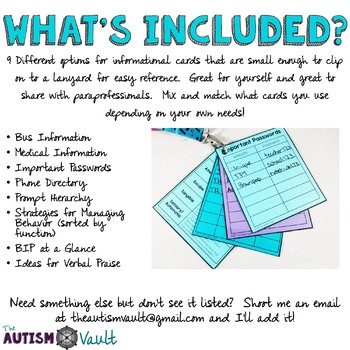 Classroom Information Cards for Special Education Staff
