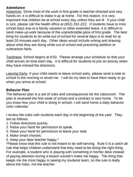 Classroom Information Packet for Parents