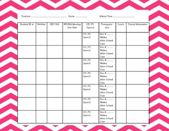 Classroom Information Reference Chart: Student Info Snapshot Pink Chevron