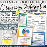 Classroom Information | Syllabus Class Info for Parents Editable Template Google