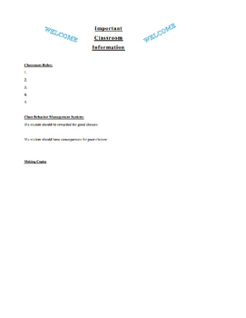 Classroom Information and Forms for a Substitute