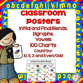 Blends, Digraphs, Vowels  and Four 100 Charts, Classroom Instructional Posters